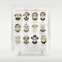 roald dahl Shower Curtains featuring Greater-Spotted British Authors by Scott Tyrrell