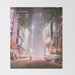New York City Colorful Snowy Night in Times Square Throw Blanket