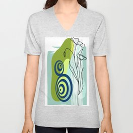 Abstract Design in Blues and greens Unisex V-Neck