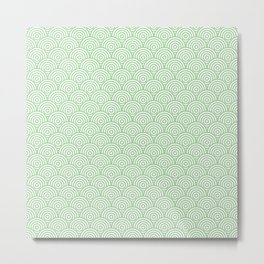 Mint Concentric Circle Pattern Metal Print