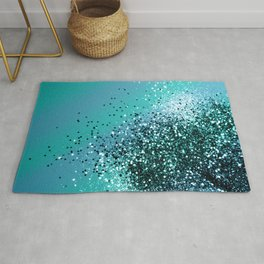 Aqua Blue OCEAN Glitter #1 #shiny #decor #art #society6 Rug