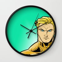 aquaman Wall Clocks featuring Aquaman by J. J.