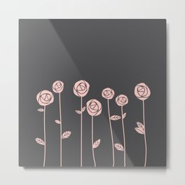 Minimalist Rose Flowers (Rose Quartz, Charcoal Black) Metal Print