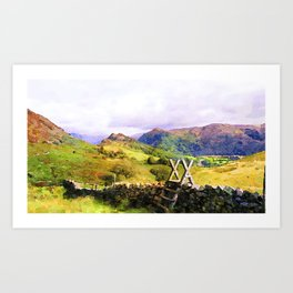 Stile over a Dry Stone Wall, Lake District, UK. Watercolour Painting Art Print