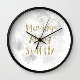 Moving Along Swiftly (gold, white, grey) Wall Clock