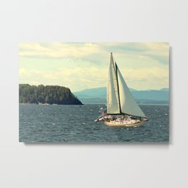 Sailboat on Lake Champlain Metal Print
