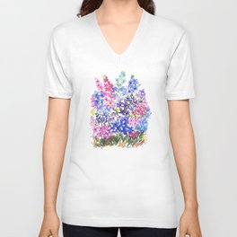 Blue Delphinium Garden Unisex V-Neck