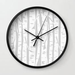 Woodcut Birches Grey Wall Clock