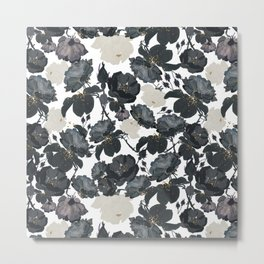 Hand drawn bohemian black and white roses glitter pattern Metal Print
