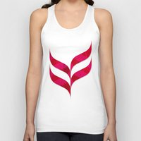 herringbone Tank Tops featuring Red Leaf Herringbone by rollerpimp