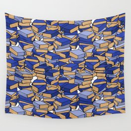 Book Collection in Blue Wall Tapestry