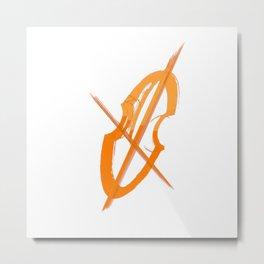Cello Music Theme Orange Copper Metal Print