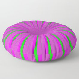SPARKLE NEON PINK FUCHSIA LIME circle rays beams triangles  Angelis Floor Pillow
