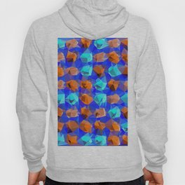 geometric polygon abstract pattern in blue and brown Hoody