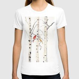 Birch Trees and Cardinal T-Shirt