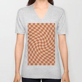 Check IV - Orange Twist — Checkerboard Print Unisex V-Neck