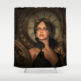 Steampunk Time Keeper Shower Curtain