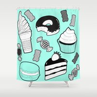 tooth Shower Curtains featuring Sweet Tooth by chloesoe
