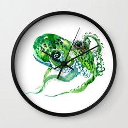 Beach art, green Octopus, sea world, aquatic nautical octopus art Wall Clock