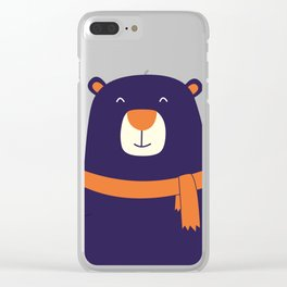 Purple Bear is Here Clear iPhone Case