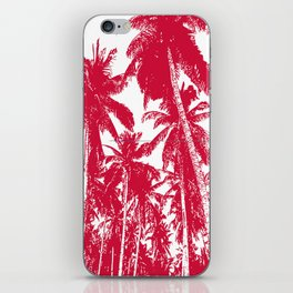 Palm Trees Design in Red and White iPhone Skin