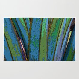 Blue Abstract Screw Pine Rug
