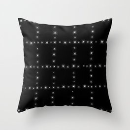 Black and White - Stars in Squares Throw Pillow
