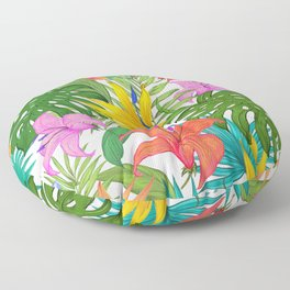 Tropical Colorful Palm Garden Floor Pillow