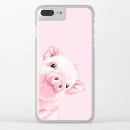 Sneaky Baby Pink Pig Clear iPhone Case