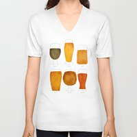 beer V-neck T-shirts featuring Beer by Cat Coquillette