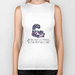 Alice floral designs - Cheshire cat entirely bonkers Biker Tank
