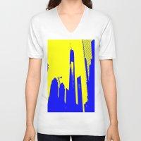metropolis V-neck T-shirts featuring Metropolis by osile ignacio