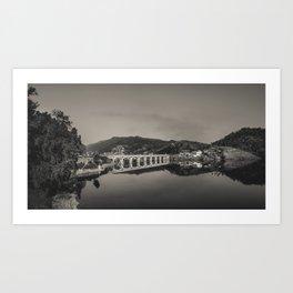 Bridge across Cavado river (B&W). Geres National Park, Portugal Art Print