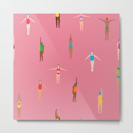 Swimmers in a Sea of Pink Metal Print