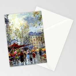 Flower Market, Madeleine, Paris, France by Antoine Blanchard Stationery Cards
