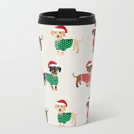 Dachshund christmas sweater holiday santa hat doxie dachsie lovers Travel Mug