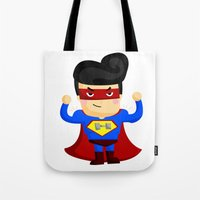 superhero Tote Bags featuring Superhero by Inkley