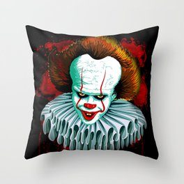 The Dancing Clown - Pennywise IT - Vector - Stephen King Character Throw Pillow