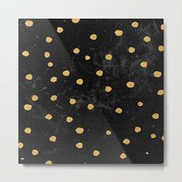 Gold Dots on Black Space Pattern Metal Print
