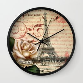 vintage chandelier white rose music notes Paris eiffel tower Wall Clock