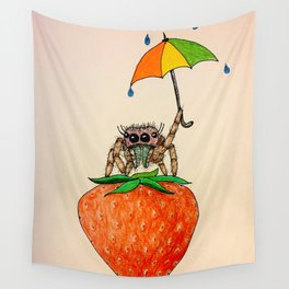Strawberry Spider with Umbrella Wall Tapestry