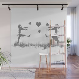 Zombies in Love Gray Wall Mural