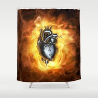 heavy metal Shower Curtains featuring Heavy metal heart by GrandeDuc