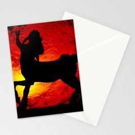 Centaur silhouette against red clouds Stationery Cards