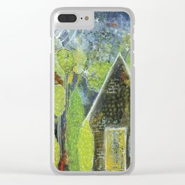 Starry night cottage Clear iPhone Case