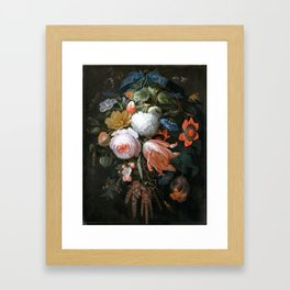 Abraham Mignon A Hanging Bouquet of Flowers Framed Art Print