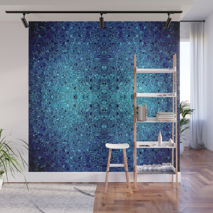 Deep blue glass mosaic Wall Mural