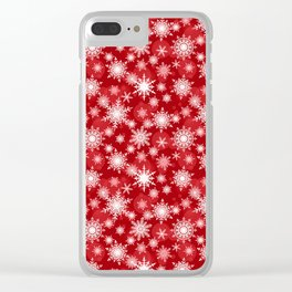 Christmas pattern. Lacy snowflakes on a red background. Clear iPhone Case
