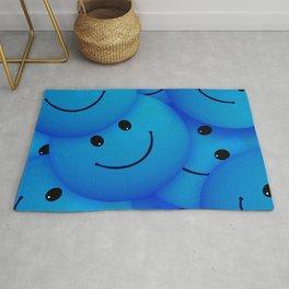 Fun Cool Happy Blue Smiley Faces Rug