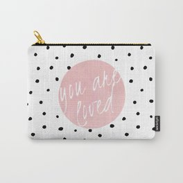 You are loved- Polkadots & Typography Carry-All Pouch